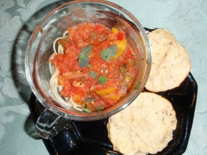 Fresh, Garden, Herb, Tomato Sauce over Spaghetti with Herb Biscuits
